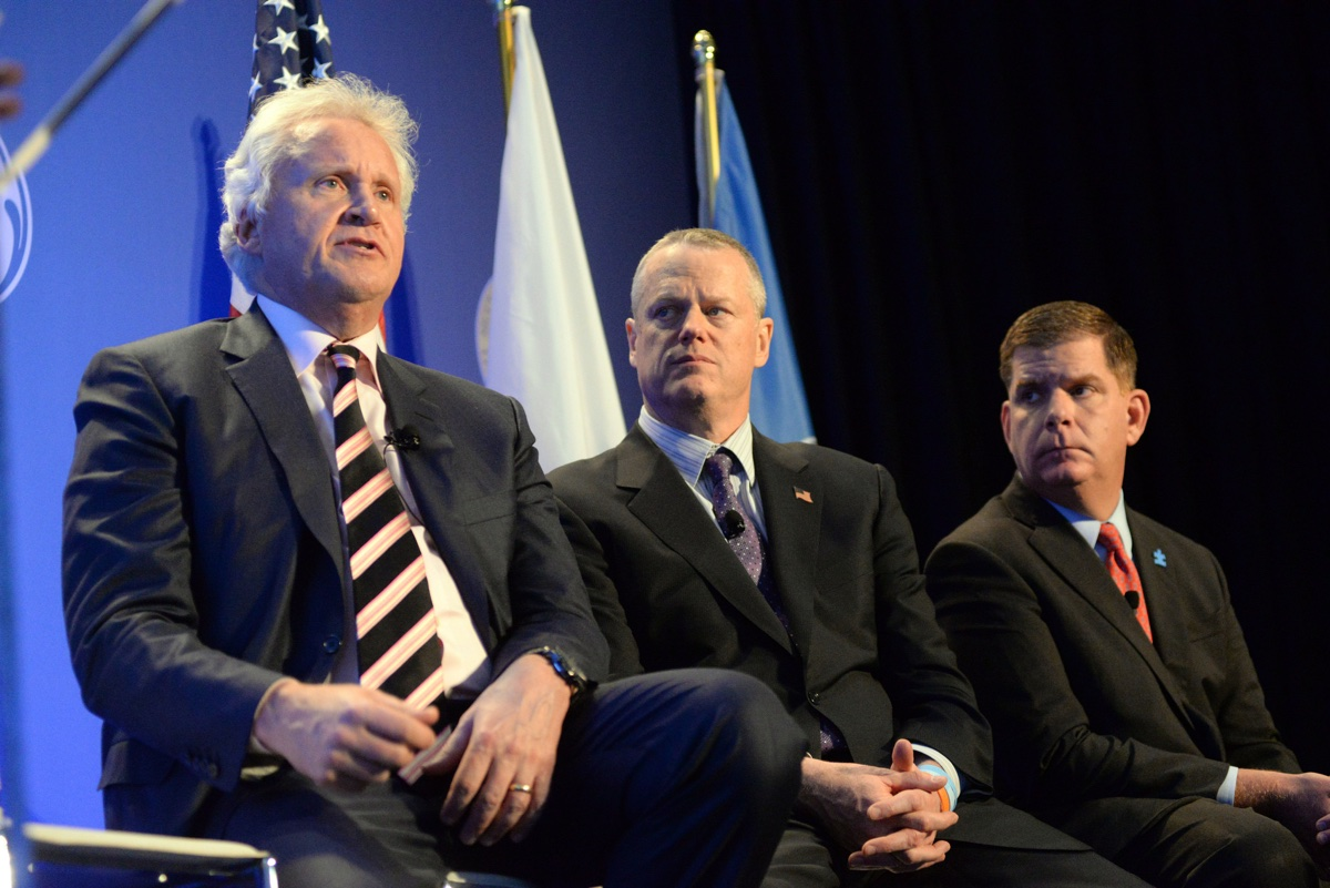 GE CEO Jeff Immelt, Gov. Charlie Baker, and Mayor Marty Walsh. Photo via Mayor's Office/Don Harney