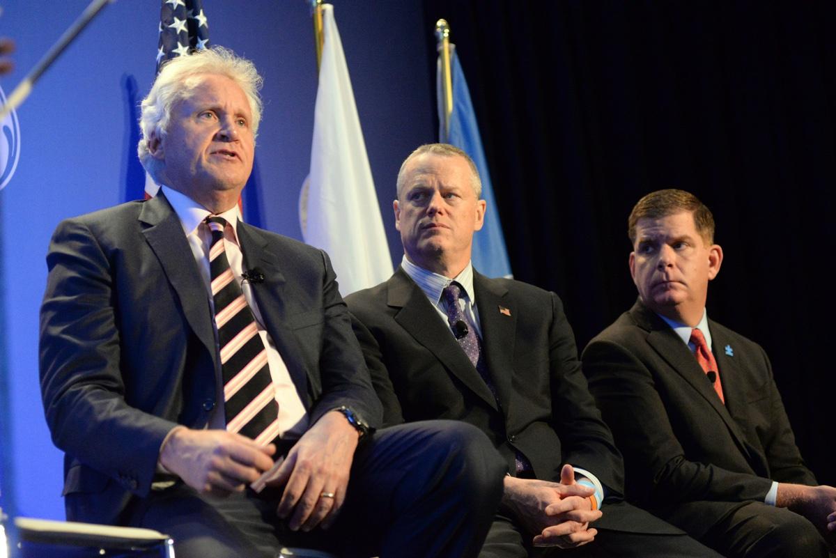 GE CEO Jeff Immelt, Gov. Charlie Baker, and Mayor Marty Walsh. Photo via Mayor's Office/Don Harney