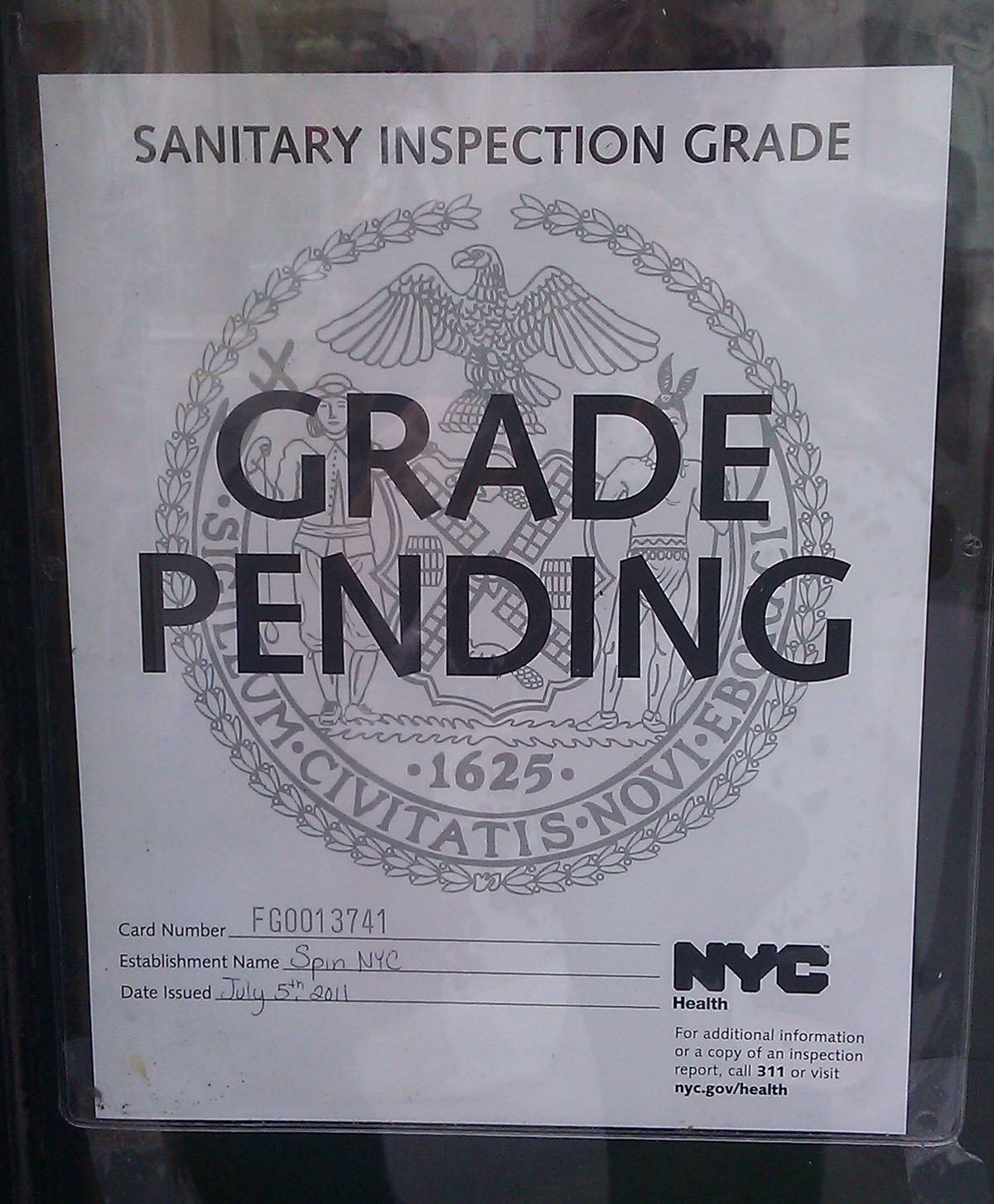 NYC Eatery Hygiene Grade Pending image