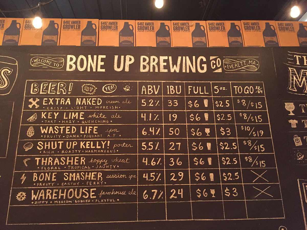 The debut draft list at Bone Up Brewing Company. / Photo provided