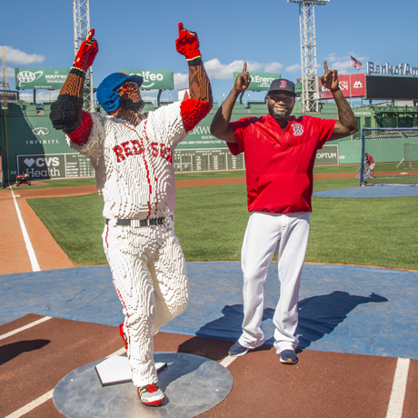 BOSTON, MA - AUGUST 29: David Ortiz #34 of the Boston Red Sox poses beside a Lego statue of himself before a game against the Tampa Bay Rays on August 29, 2016 at Fenway Park in Boston, Massachusetts. (Photo by Billie Weiss/Boston Red Sox/Getty Images) *** Local Caption *** David Ortiz