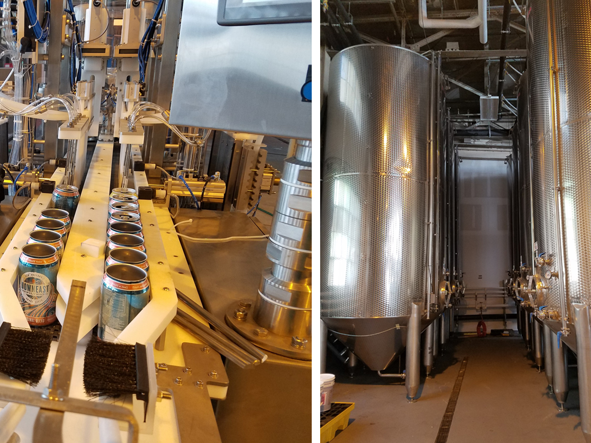 Downeast Cider's new canning line and cider tanks in East Boston.