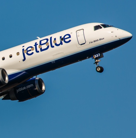 New York, USA - April 30, 2012: Embraer EMB-190 JetBlue Airways takes off from John F. Kennedy International Airport in New York, NY on April 30, 2012. JetBlue is New York based, fastest growing airline in the world. They use Airbuse and Embraers.