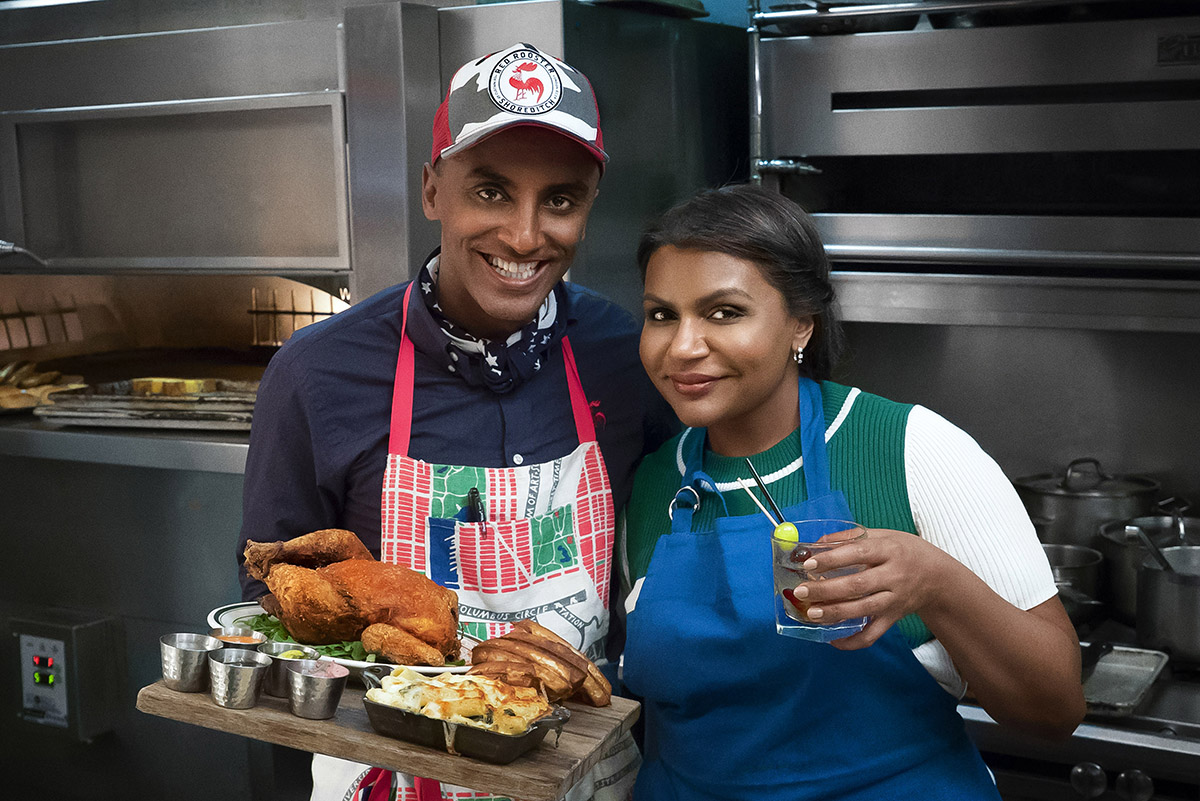 Chef Marcus Sameulsson and Mindy Kaling