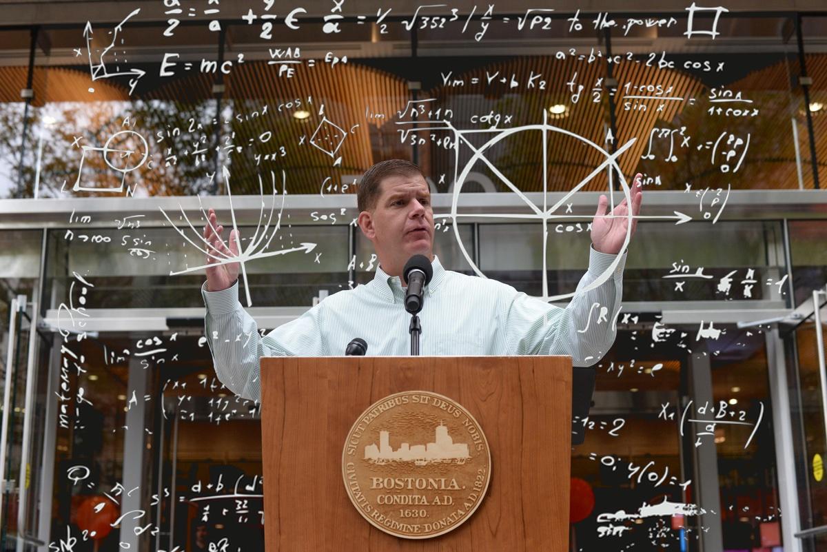 Walsh photo via Mayor's Office/Jeremiah Robinson, Math illustration via iStock/subjob.