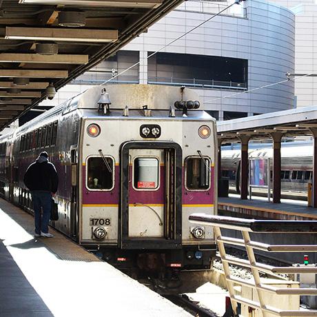 mbta commuter rail train with person-sq