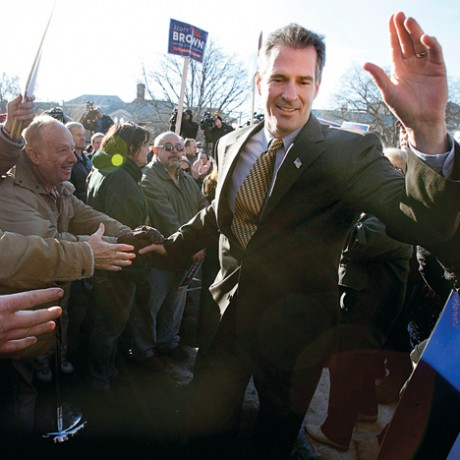 Massachusetts State Senator Scott Brown, R-Wrentham, center, arrives at a campaign rally, Saturday, Jan. 16, 2010, in Quincy, Mass. Brown is on the ballot of the Tuesday, Jan. 19, 2010, special election to fill the U.S. Senate seat left vacant by the death of Sen. Edward M. Kennedy, D-Mass. (AP Photo/Michael Dwyer)