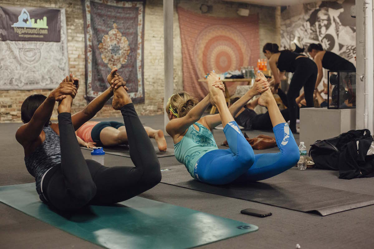 yoga around town at urban outfitters