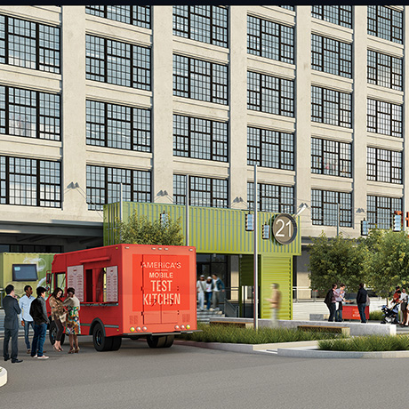 A RENDERING OF THE EXTERIOR VIEW OF AMERICA'S TEST KITCHEN AT THE INNOVATION AND DESIGN BUILDING