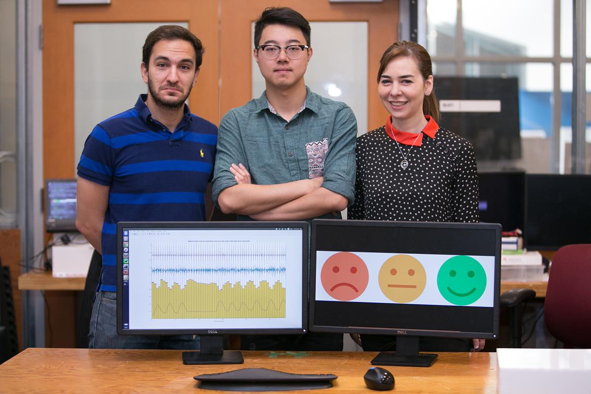 Fadel Adib, PhD, Mingmin Zhao, PhD and Professor Dina Katabi. Photo by Jason Dorman. Photo provided.