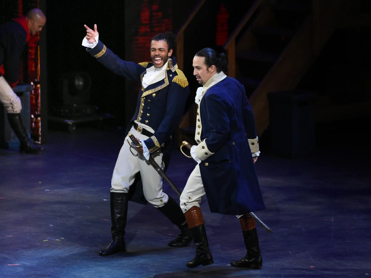 Diggs, left, and Lin-Manuel Miranda performing at the 2016 Tony Award. Photo via AP