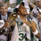The Boston Celtics celebrate their 131-92 win over the Los Angeles Lakers to win the NBA basketball Championship in Boston, Tuesday, June 17, 2008. (AP Photo/Charles Krupa)