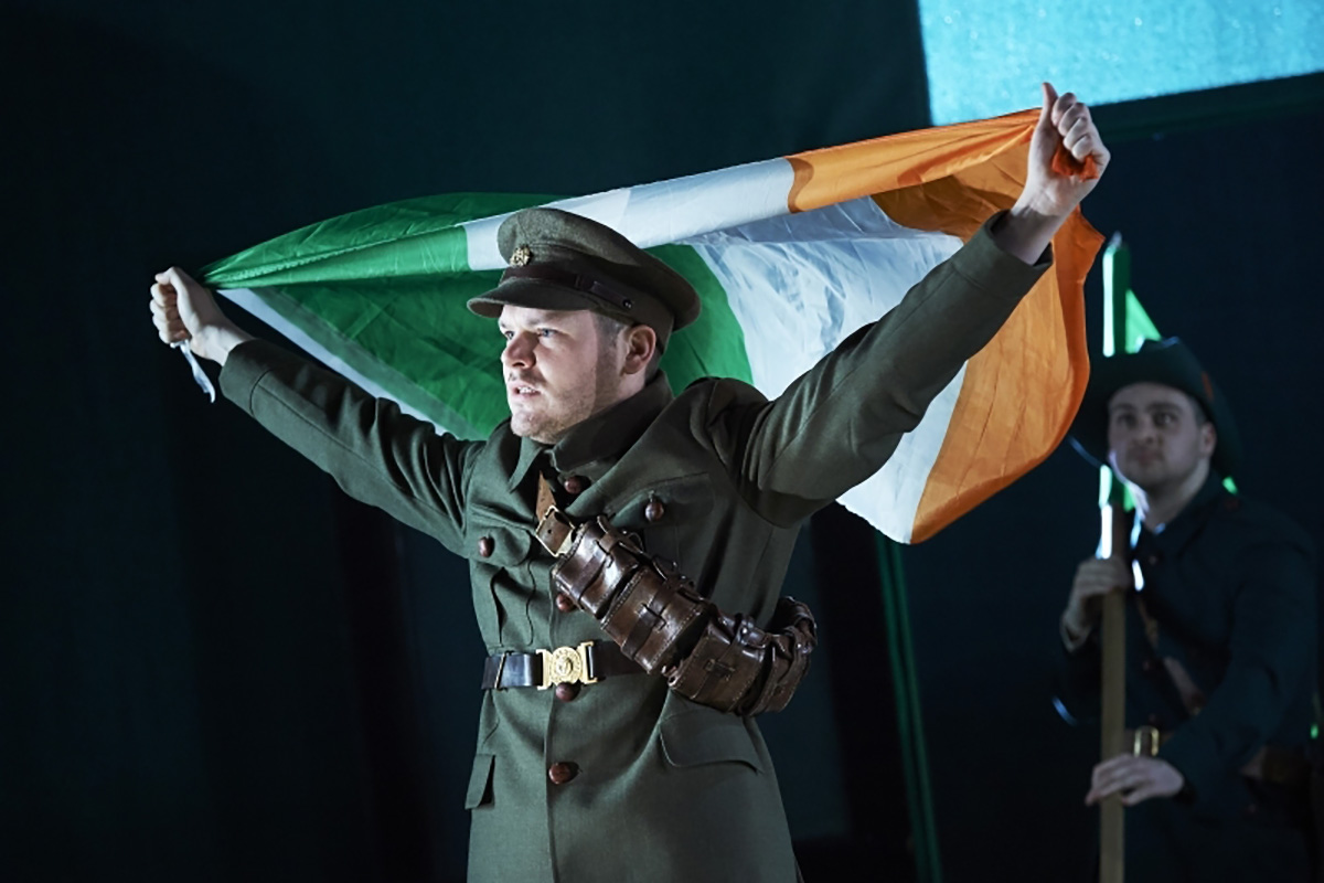 Lloyd Cooney (Lieut. Langon) and Liam Heslin (Capt. Brennan) in The Plough and the Stars. Courtesy of American Repertory Theater.