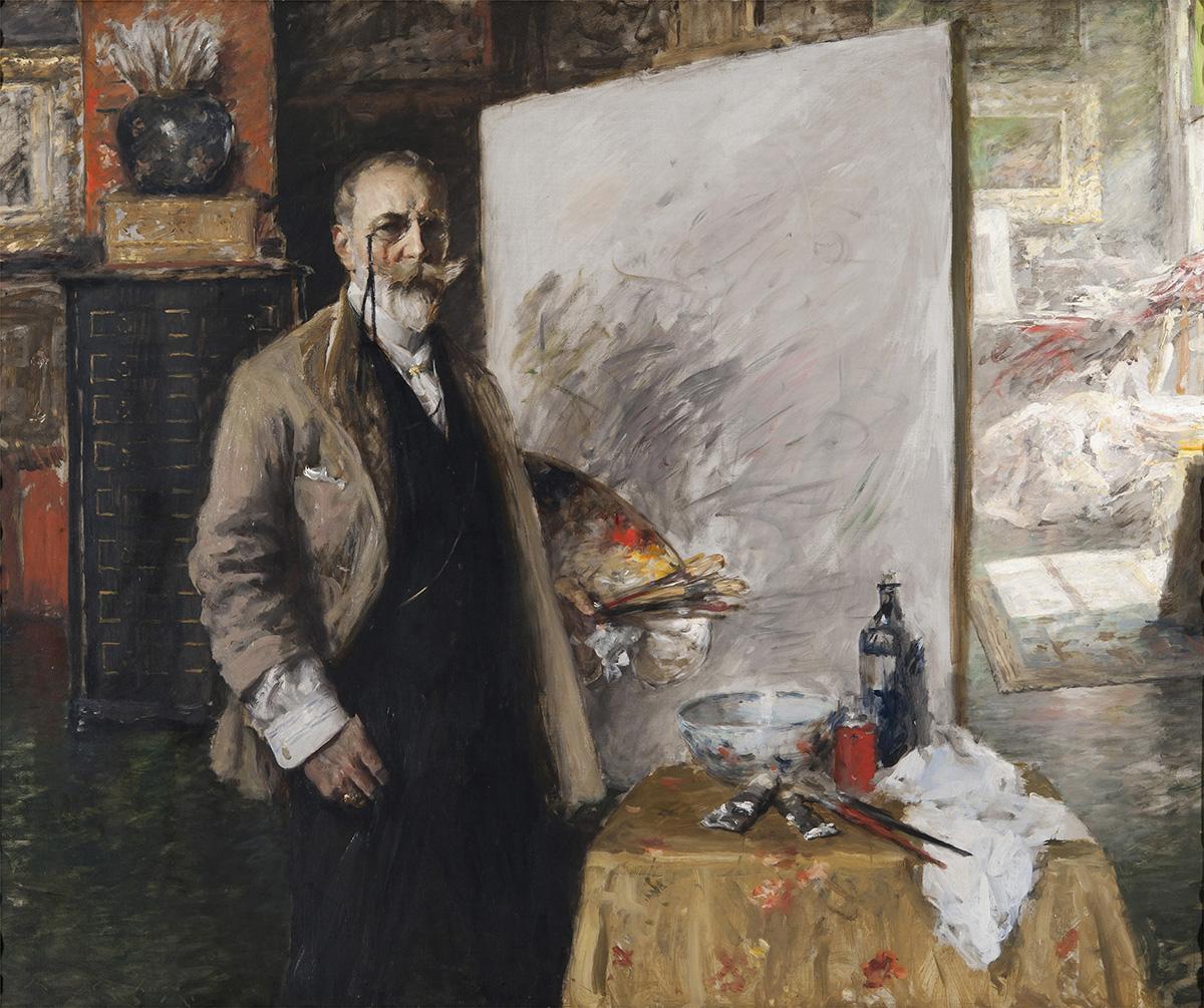 """Self‑Portrait in the 4th Avenue Studio"" byWilliam Merritt Chase, 1915-16. Courtesy of the MFA."
