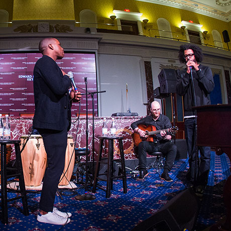 "Leslie Odom, Jr. (white sneakers) and Daveed Diggs perform ""Wait For It"" from the Broadway musical Hamilton at the 2016 EMK Institute gala in Dorchester"