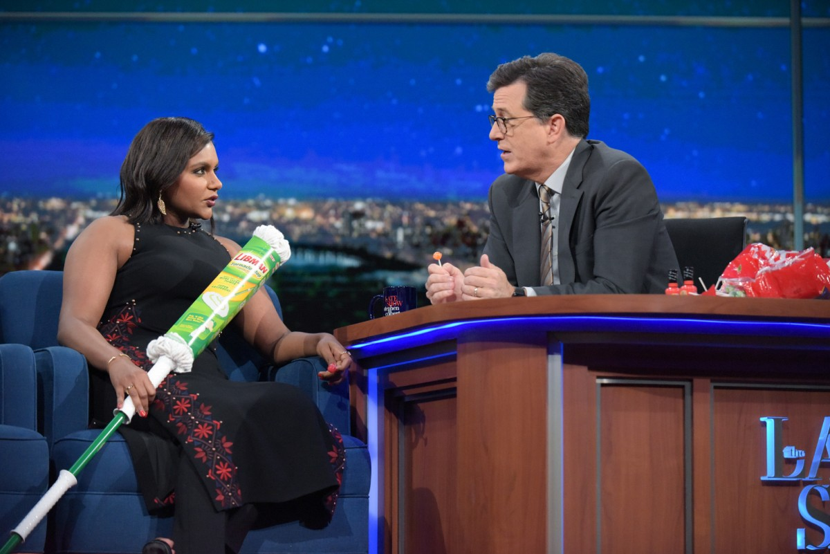 Mindy Kaling and Stephen Colbert