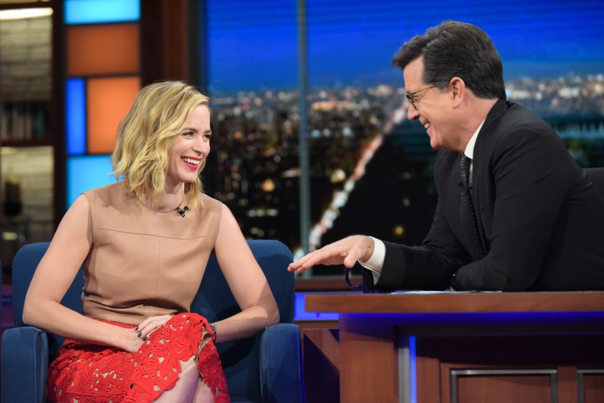 Emily Blunt and Stephen Colbert
