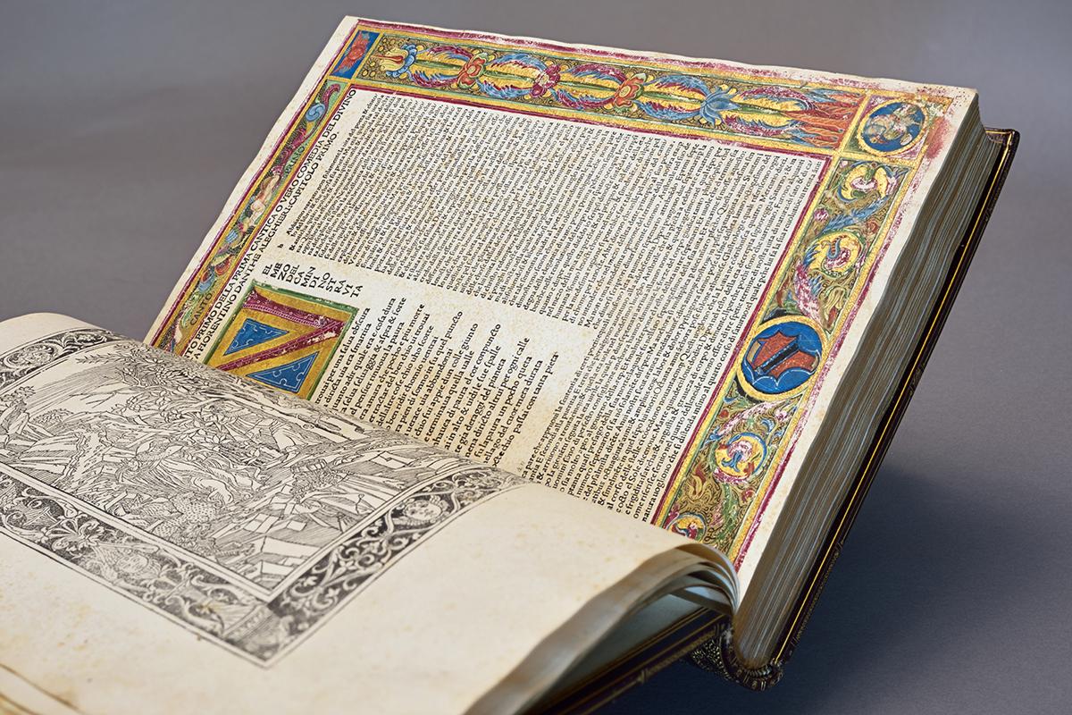 Dante Alighieri (Italian, 1265-1321, author) and Cristoforo Landino (Italian, 1424-1498, editor), The Divine Comedy, 31 May 1487. Incunable: ink on paper, 37.2 x 26 x 5.2 cm (14 5/8 x 10 1/4 x 2 1/16 in.) Isabella Stewart Gardner Museum, Boston