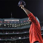 Boston Red Sox's David Ortiz waves from the mound at Fenway Park after Game 3 of baseball's American League Division Series against the Cleveland Indians, Monday, Oct. 10, 2016, in Boston. The Indians swept the Red Sox out of the postseason and sent Ortiz into retirement with a 4-3 victory that completed a three-game American League Division Series sweep. (AP Photo/Charles Krupa)
