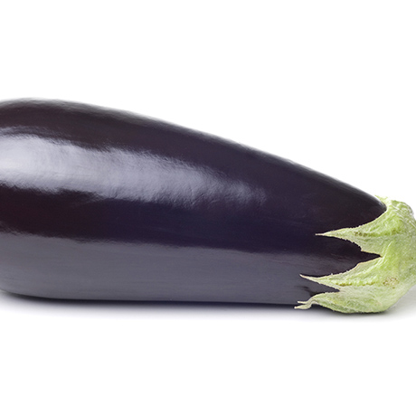 Eggplant on white with soft shadow.