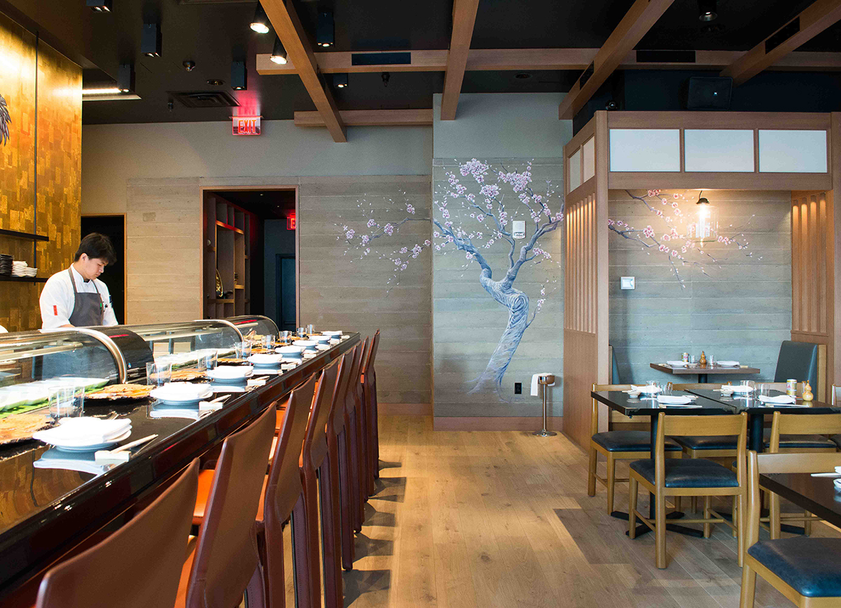 Pabu Boston sushi bar and dining room. / Photos by Jenna Skutnik