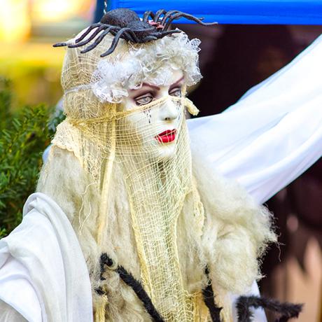 Female halloween decoration, salem massachusetts, october 31, 2015