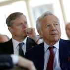 New England Patriots owner Robert Kraft, right, and Massachusetts Gov. Charlie Baker, center, listen as General Electric chairman and CEO Jeffrey Immelt  speaks at the Boston College Chief Executives Club in the Boston Harbor Hotel in Boston, Thursday, March 24, 2016. (AP Photo/Michael Dwyer)