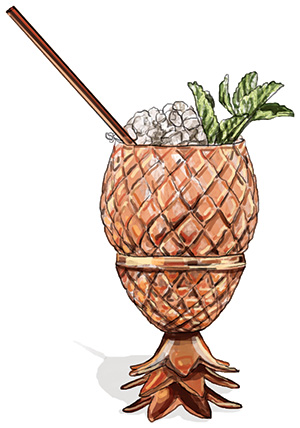 copper pineapple cocktail service