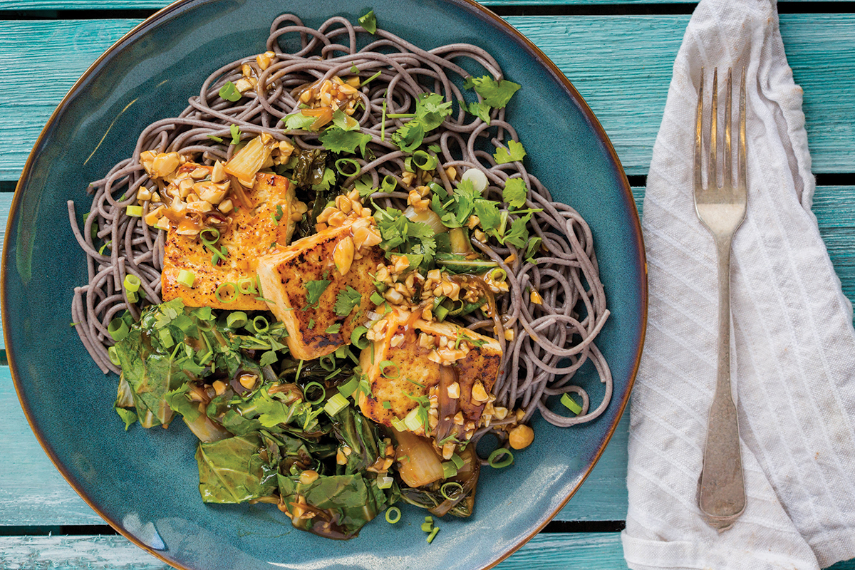 Pan seared tofu and black rice noodles from Purple Carrot.
