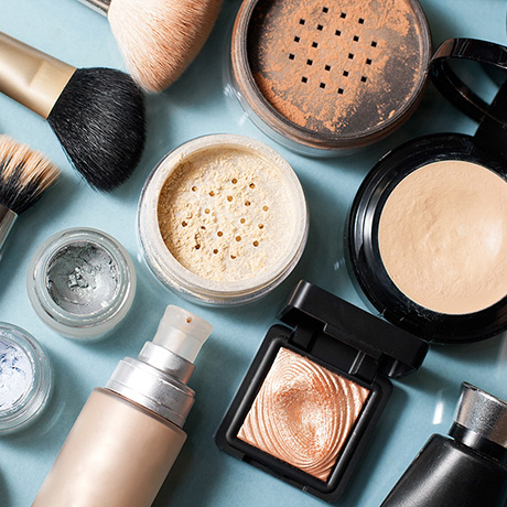 set of  decorative cosmetic powder, concealer, eye shadow brush, blush, foundation