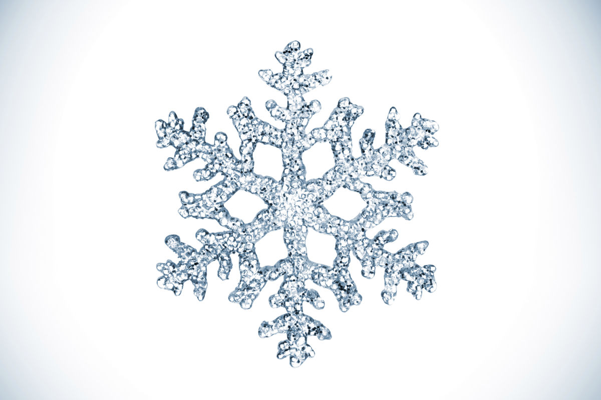An isolated snowflake.
