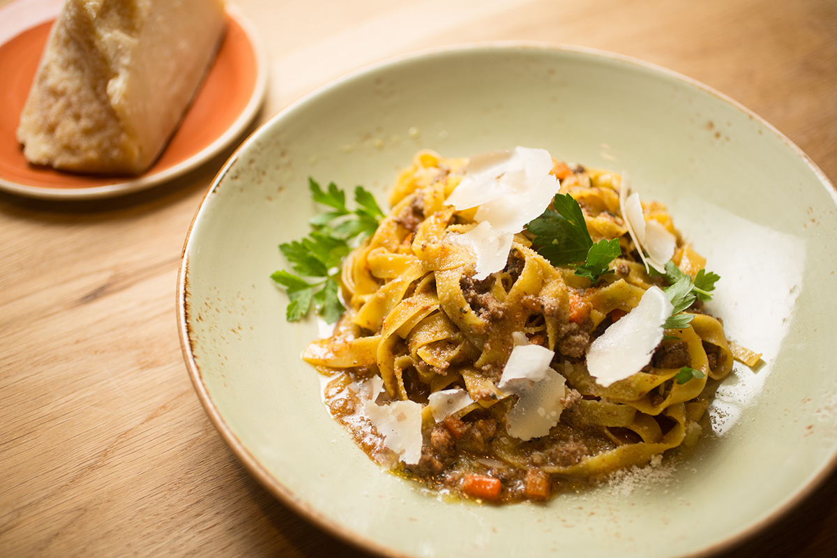 Tagliatelle alla bolognese (traditional ragù with beef short rib, pancetta and chicken livers.) / Photo by Erik Jacobs / JacobsPhotographic