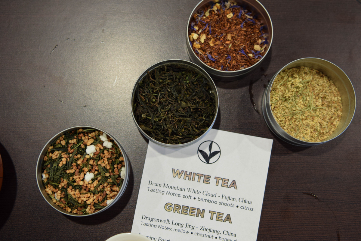 Some teas are just as appealing to look at before steeping as they are to taste. From left, a Genmai Cha, a Japanese green tea which uses toasted rice to bulk it up; A first flush Darjeeling tea from India; Decorated Rooibos, made from the South African redbush; and Karnak Elderflower. / Photo by Lloyd Mallison