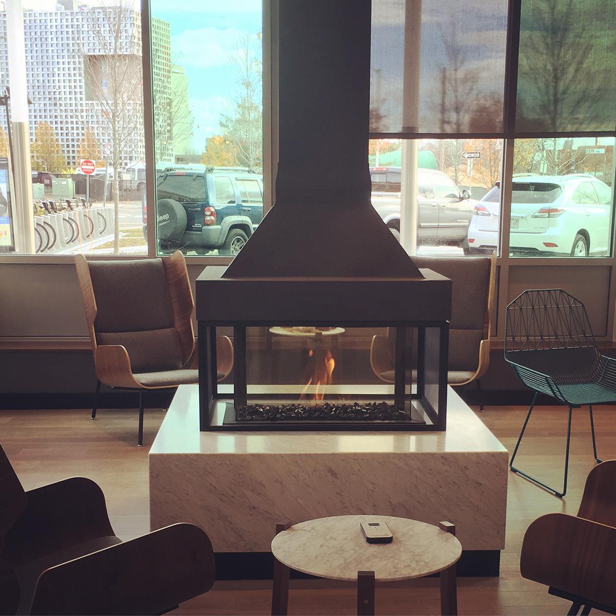 A lounge area inside Flour Cambridgeport