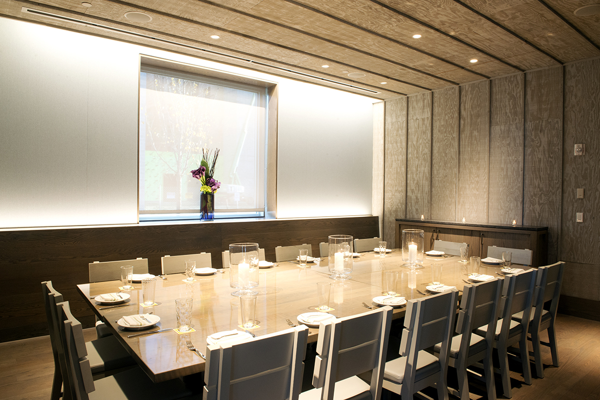A private dining room at Island Creek Oyster Bar in Burlington.