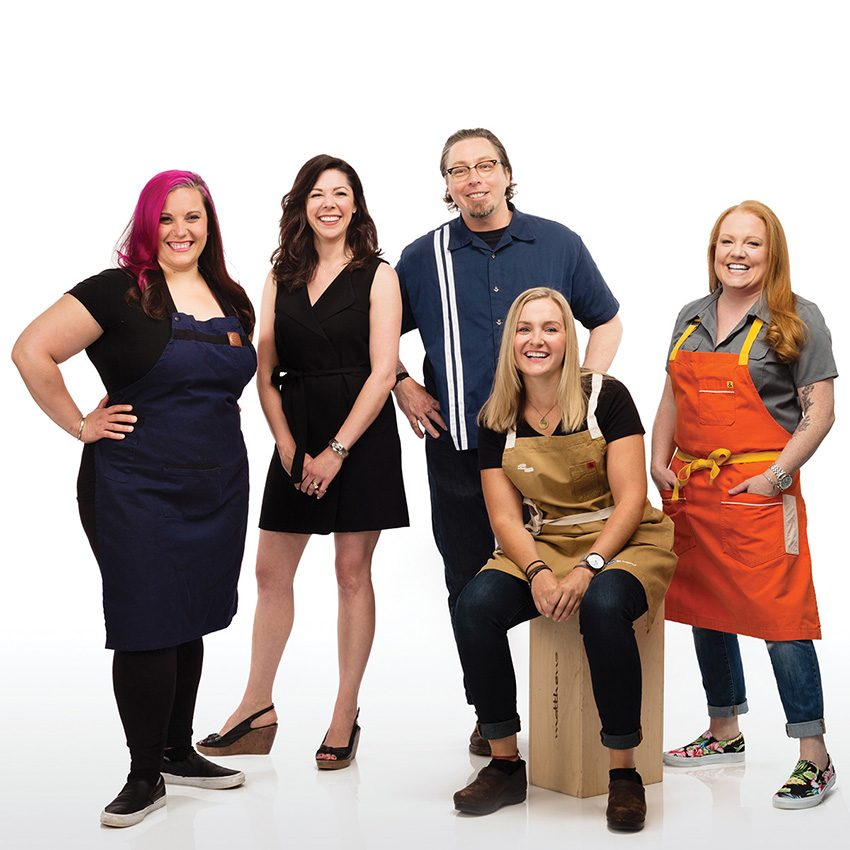 From left: Karen Akunowicz, Katie Gilarde, Todd Maul, Meghan Thompson, and Tiffani Faison. / Photograph by Jason Grow, styling by Laura Dillon/Team
