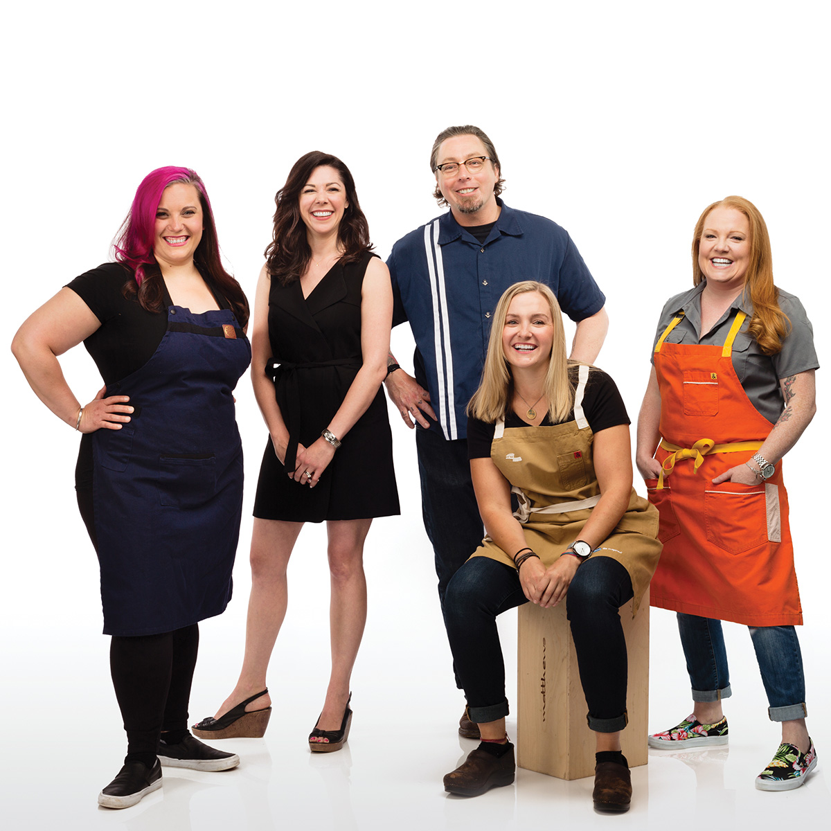 """Meghan Thompson (seated) with fellow 2016 Best of Boston honorees (from left) Karen Akunowicz, Katie Gilarde, Todd Maul, and Tiffani Faison. / Photograph by Jason Grow, styling by Laura Dillon/Team for """"Best of Boston 2016"""""""