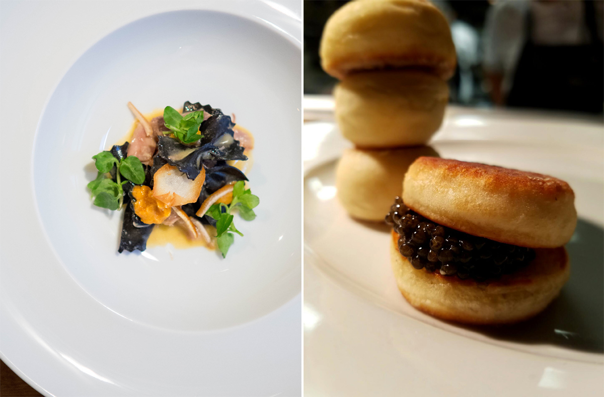 Sepia farfalle / Portuguese English Muffins and caviar