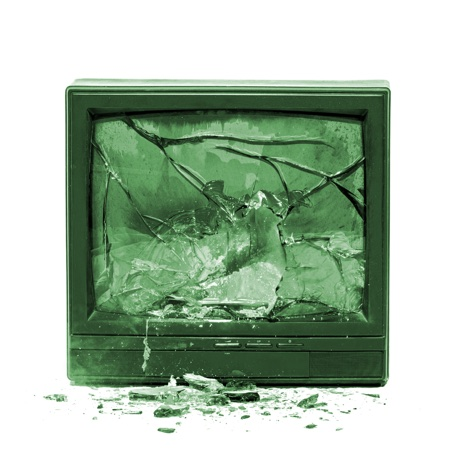 Television exploding isolated on white background