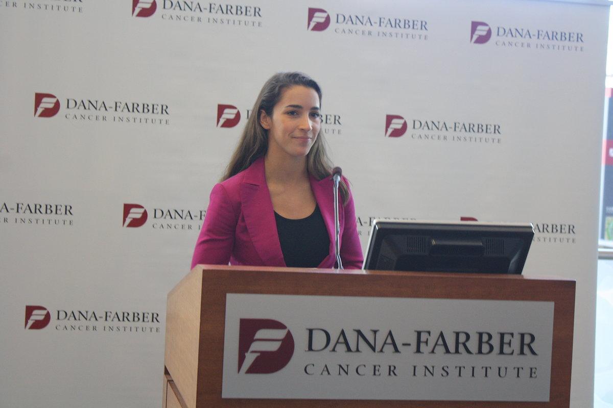 Aly Raisman speaks at Dana-Farber/Photo by Hallie Smith