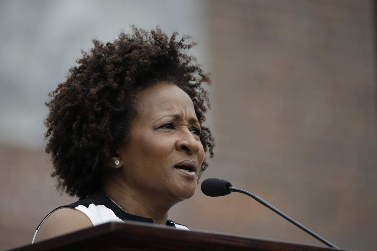 Wanda Sykes during the National LGBT 50th Anniversary Ceremony, Saturday, July 4, 2015, in front of Independence Hall in Philadelphia. The event marks the 50th anniversary of a protest outside Independence Hall that would be a milestone in the fight for gay rights. (AP Photo/Matt Rourke)