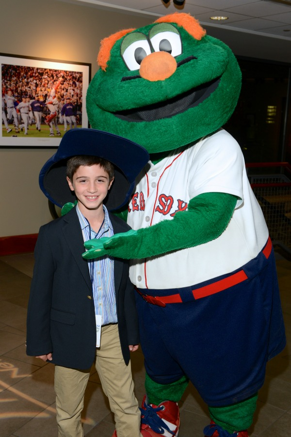 JACOB BERLINER AND BOSTON RED SOX MASCOT WALLY CELEBRATE THE CAMP CHAMPIONS