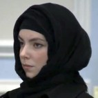 Katherine Russell, widow of Boston Marathon bombing suspect Tamerlan Tsarnaev, stands during a hearing in district court Thursday, Jan. 9, 2013, in Wrentham, Mass., on charges of driving with a suspended license, speeding and driving an unregistered motor vehicle in Franklin, Mass., in August. She was found responsible for speeding, but the other two charges were dismissed.  (AP Photo/WCVB-TV, Pool)