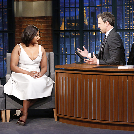 LATE NIGHT WITH SETH MEYERS -- Episode 462 -- Pictured: (l-r) Actress Mindy Kaling during an interview with hos Seth Meyers on December 14, 2016 -- (Photo by: Lloyd Bishop/NBC)