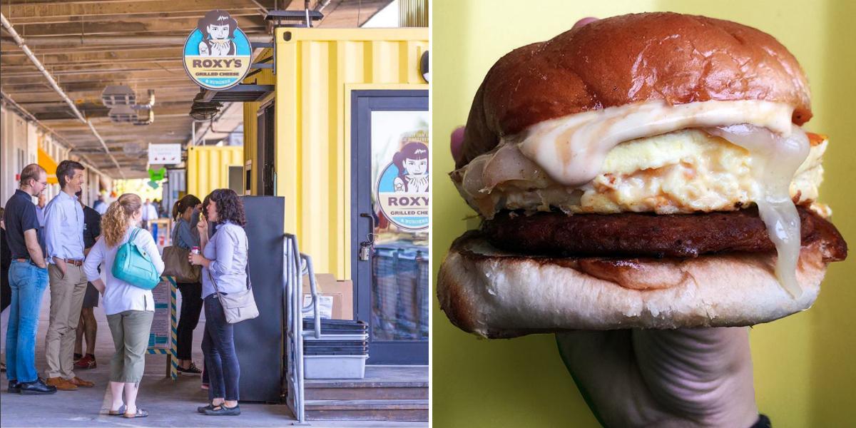 Roxy's at the Innovation Design Building image via @IDBLDG on Instagram / Chorizo breakfast sandwich image via Roxy's on Facebook