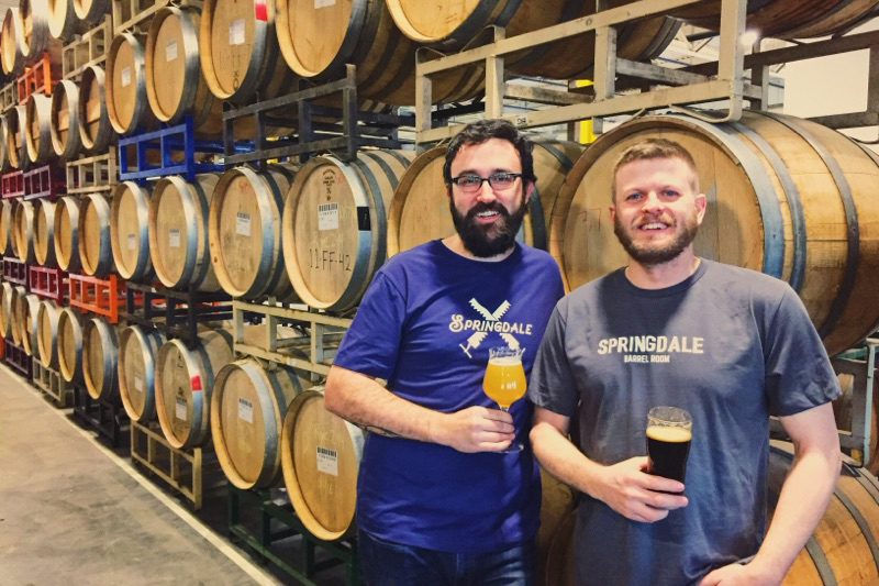 (L to R) Springdale Barrel Room general manager Joe Connolly and Jack's Abby cofounder Jack Hendler