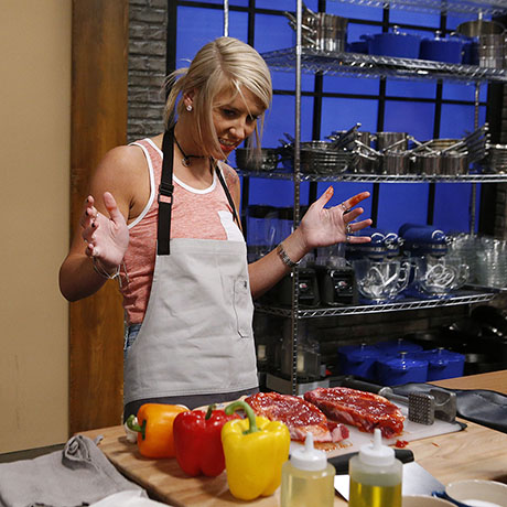 Mandy Thornton cooks during the baseline challenge, as seen on Food Network's Worst Cooks in America, Season 10.