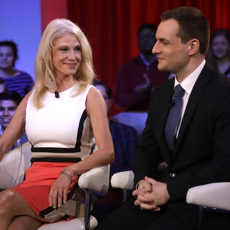 Kellyanne Conway, Trump-Pence campaign manager, left, sits with Robby Mook, Clinton-Kaine campaign manager, prior to a forum at Harvard University's Kennedy School of Government in Cambridge, Mass., Thursday, Dec. 1, 2016. (AP Photo/Charles Krupa)
