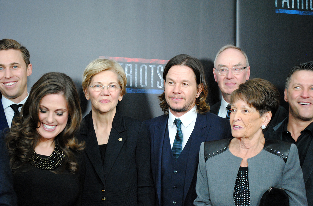 Mark Wahlberg and Elizabeth Warren at the Patriots Day red carpet.
