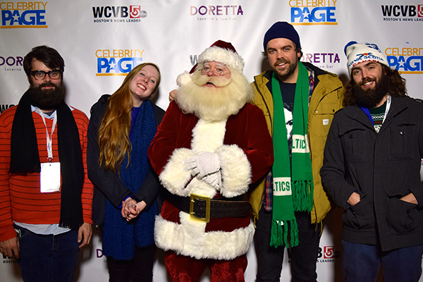 Santa Boston and the tree lighting's featured band, The Town Heroes.
